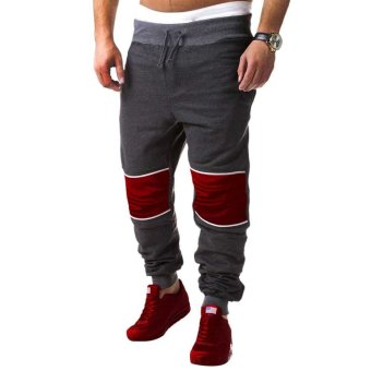 Casual Patchwork Zipper Design Male Elastic Band Long Sports Pants - intl