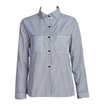 WomenFora Boueong eeve Button Down triped Pockset shirt - intl