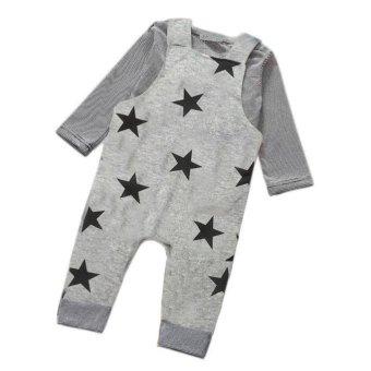 Baby Boys Pants Sets Stripe T-shirt Top Bib Pants Overall Outfits - intl