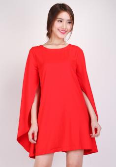 Đầm Oversize Tay Cách Điệu Thời trang Hoàng Khanh (Đỏ)