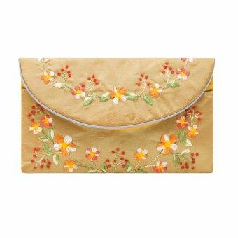 Ví cầm tay nắp thư Hoian Gifts vải lụa thêu hoa (Vàng đồng) HA-51B