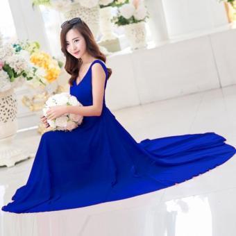 Đầm maxi cao cấp màu xanh cổ v thắt eo nơ anna