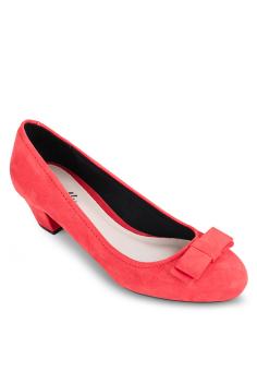 Giày Bít Tròn Nơ Nhỏ Gót Thô 3cm (Cam)