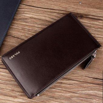 Men Leather Card Cash Receipt Holder Ultra-Thin Zipper Wallet Purse coffee - intl