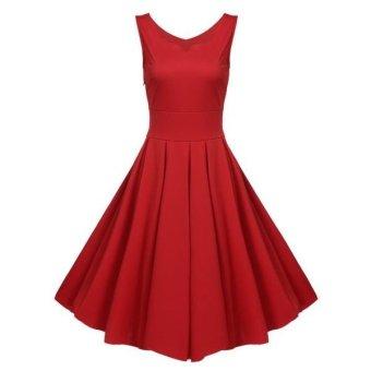 Sunweb Women Fashion Elegant Sleeveless High Waist Solid Pleated Evening Party Swing Dress ( Red ) - intl