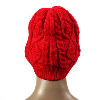 2015 Feminino Twist Pattern Women Winter Knitted Sweater Hats Red (Intl)