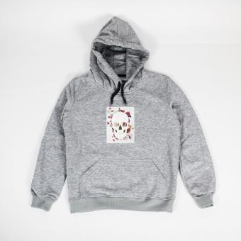 Áo khoác hoodie nữ in hình Skull Grunge (xám nhạt)