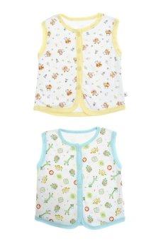 Bộ 2 áo khỉ bông trẻ em Nanio A0002-Vxd (Vàng Xanh Đậm)
