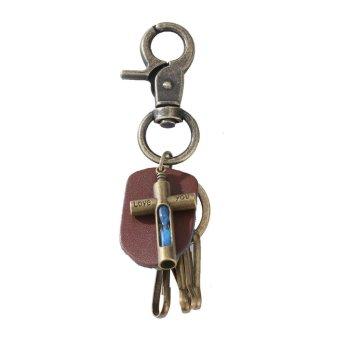 YYS057 New Punk Men Retro Leather Alloy Keychain Keyring Decoration Pendant(Blue) - intl