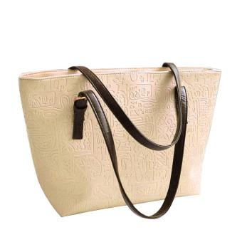 Simple Winter Larger Capacity Leather Women Bag Messenger Beige - Intl