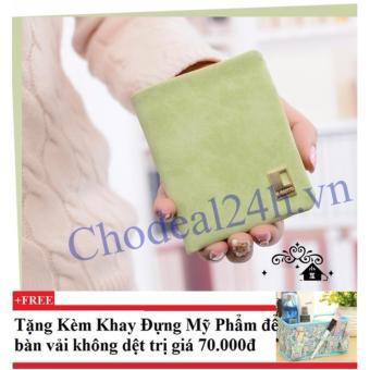 Ví cầm tay vuông nhỏ nhắn cho nữ CDVN02 (xanh lá) + Tặng kèm khay đựng mỹ phẩm để bàn