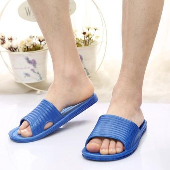 Man Stripe Flat Bath Slippers Summer Sandals Indoor & Outdoor Slippers - intl
