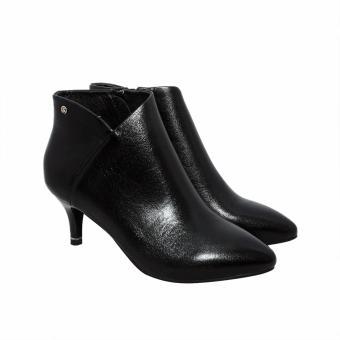 Giày bốt cao gót 5CM da bò (Đen)