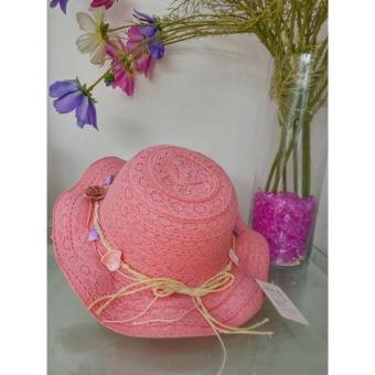Mũ thời trang bé gái kết Hoa Sò - Hồng nhạt