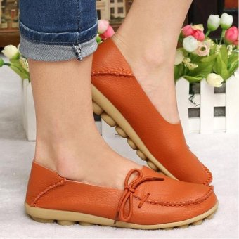 Women Shoes Leather Beanie Flat Shoes Summer Spring Autumn Slip-on Knot Non-slip Woman Ladies Soft Loafers Flats Orange - intl