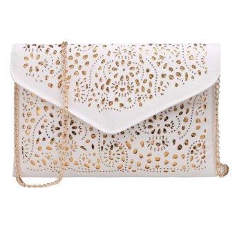 Linemart Limemart Fashion Women Candy Color Envelope Clutch Bag Thin Wallet Purse Card Holder ( Black ) ( Black ) - intl