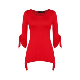 Sunweb ACEVOG Stylish Ladies Women Casual 3/4 Flare Sleeve Solid Slim Irregular Asymmetric Top Blouse Shirt T-Shirt ( Red ) - intl