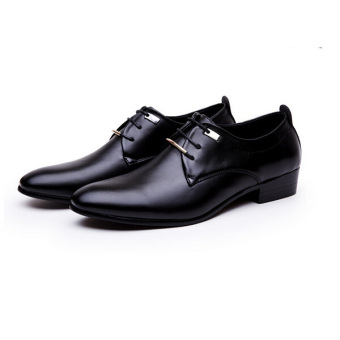 Men's Leather Pointed Toe Lace Up Wedding Formal Shoes Black - Intl