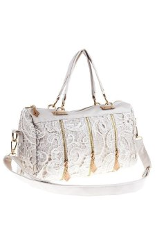 Mua HKS Women Lady Messenger Bag PU Leather Lace Satchel Tote Shoulder Bag Handbag Purse White - intl giá tốt nhất