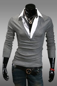Cyber Casual Men Long Sleeve Lapel Fake Two Piece T-Shirt 5 Colors ( Grey ) - Intl