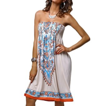 New Retro Women Mini Dress Print Strapless Bustier Beach Dress Skirt Swing Dress - Intl