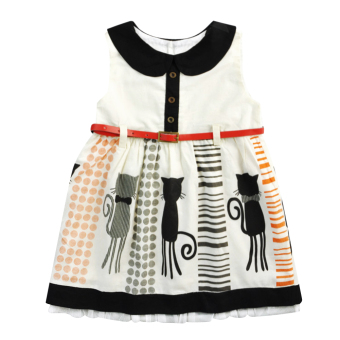 Girls Cat Printed Party Dress with Belt