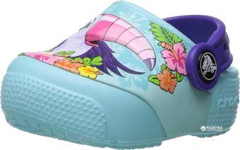 Giày lười bé gái CrocsFunLab Lights Tcan/IBlu 204133-940 (Xanh ngọc)