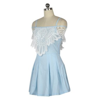Summer Off-shoulder Dress Sweet Lace Stitching Hollow Out Dress (Light Blue) - Intl