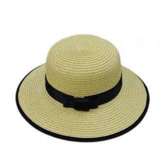 Nón Vành Panama Chất Liệu cói Julie Caps (Vàng Đen)