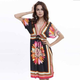 New Fashion Plus Size Ethnic Style Sexy Beach Dress Printing Summer Dress Women Short Skirts - intl
