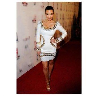 Sunweb Women Long Sleeve Gold Foil Mini Tunic Party Bodycon Sexy Dress White - intl