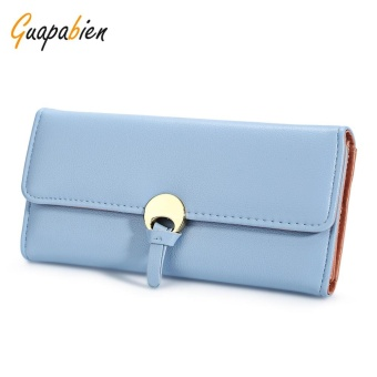 Guapabien Stylish PU Leather Snap Fastener Simple Card Holder Clutch Wallet For Women(Blue) - intl