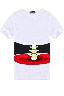 LALANG Men Short Sleeve T-shirt 3D Effect Bone Casual Shirt White - Intl