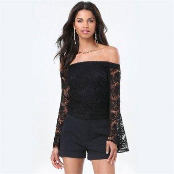 Gamiss Render Unlined Upper Garment Woman Long-Sleeved Lace Design A Word Shoulder(Black) - Intl