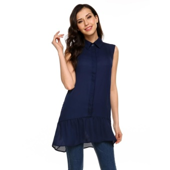 Cyber Women Sleeveless Turn Down Collar Front Button Tank Tops Chiffon Loose Long Tops ( Navy Blue ) - intl