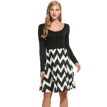 Linemart Women Casual Long Sleeve Wave Striped Slim Pleated Dress ( Black + White ) - intl