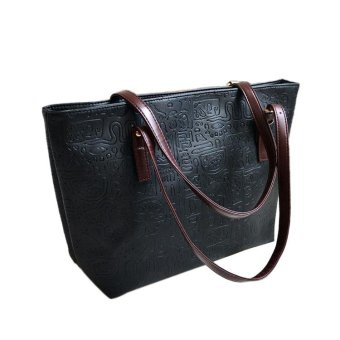 Simple Winter Larger Capacity Leather Women Bag Messenger Black