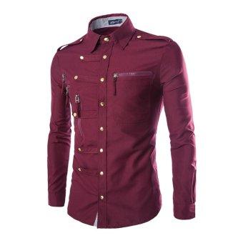 Mens Casual Dress Slim Fit T-Shirt Casual Long Sleeve - Intl