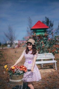 Đầm xòe vintage hoa tím JOLY JSDT03