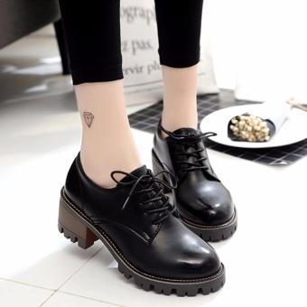 Giày cao gót đế vuông răng cưa (Đen)