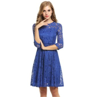 Linemart Women Round Neck 3/4 Sleeve Pleated Lace Slim Party Evening Cocktail Dress ( Blue ) - intl