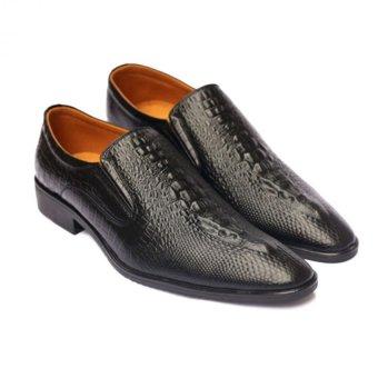 Giày lười công sở vân cá sấu (Đen)
