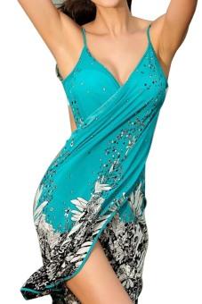 Women Deep V Backless Wrap Swimwear Bikini Beach Cover Up Sarong Beach Dress - intl