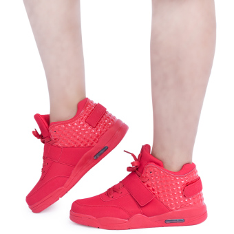 Patchwork Lace Up High Top Breathable Sports Shoes(Red) - intl