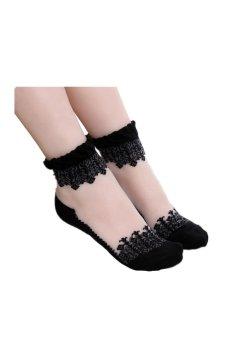 Ultrathin Transparent Beautiful Crystal Lace Elastic Short Socks (Black)