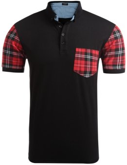 Linemart Men Turn Down Collar Short Sleeve Plaid Patchwork Pocket Polo T-Shirt ( Black )(Int:XXL)(OVERSEAS) - intl