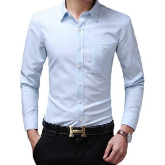 New Design Hot Oxford Long Sleeve Turn Down Collar Slim Fit Solid Palin Plus Size High Quality Men Plaid Casual Shirts - intl