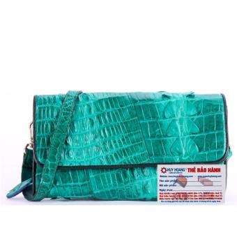 HL6275 - Túi đeo nữ da cá sấu Huy Hoàng 2 gai màu xanh lá