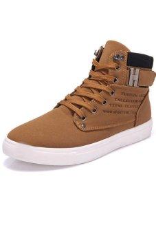 LALANG Casual Men High Cut Canvas Shoes Sneakers Sports Khaki - intl