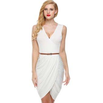 Cyber Meaneor Women Sleeveless Deep Wrap Slim Pencil Dress with Belt (White) - Intl